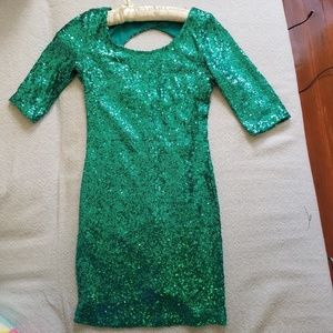 Crystal Doll green sequin dress